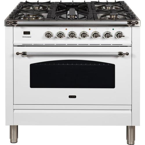 Nostalgie 36 Inch Dual Fuel Natural Gas Freestanding Range in White with Chrome Trim