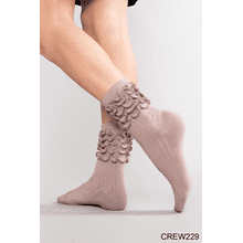 Ruffle My Feather Crew Sock - Burgundy (2 pc. ppk.)