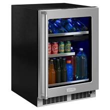 24-In Professional Built-In Dual Zone Wine And Beverage Center with Door Style - Stainless Steel Frame Glass, Door Swing - Right
