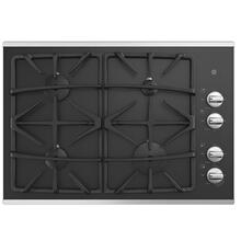 """See Details - GE 30"""" Built-In Deep-Recessed on Glass Gas Cooktop Stainless Steel - JGP5530SLSS"""