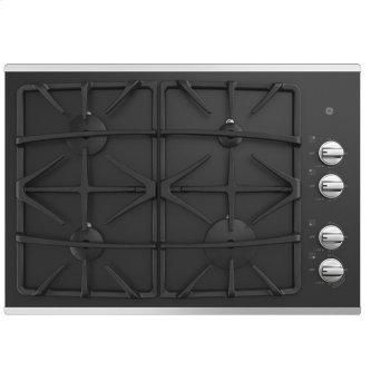 """GE 30"""" Built-In Deep-Recessed on Glass Gas Cooktop Stainless Steel - JGP5530SLSS"""