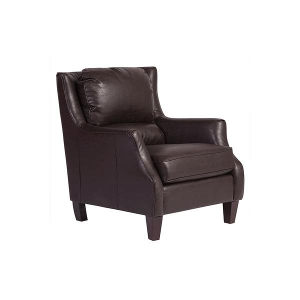 See Details - Garnett Espresso Leather-Look Accent Chair, ACL519