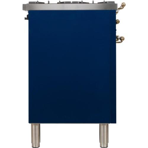 Nostalgie 30 Inch Dual Fuel Natural Gas Freestanding Range in Blue with Brass Trim