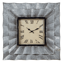 Corrugated Galvanized Square Wall Clock