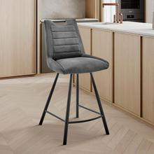 """See Details - Arizona 26"""" Counter Height Bar Stool in Charcoal Fabric and Black Finish"""