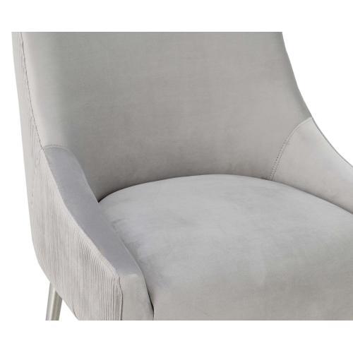Tov Furniture - Beatrix Pleated Light Grey Velvet Bar Stool