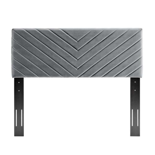 Alyson Angular Channel Tufted Performance Velvet Twin Headboard in Charcoal