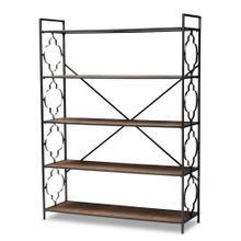 See Details - Baxton Studio Mirna Industrial Black Iron Metal and Natural Oak Wood 5-Shelf Quatrefoil Accent Bookcase