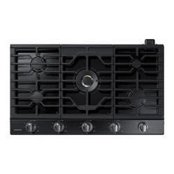"""36"""" Smart Gas Cooktop with 22K BTU Dual Power Burner in Black Stainless Steel"""