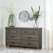 6-Drawer Double Dresser - Gray Maple