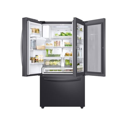 28 cu. ft. 3-Door French Door, Full Depth Refrigerator with Food Showcase in Black Stainless Steel