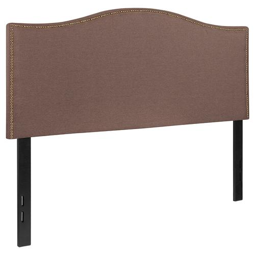 Lexington Upholstered Full Size Headboard with Accent Nail Trim in Camel Fabric