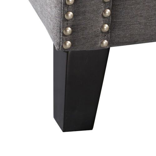 Traditional Grey Accent Arm Chair with Nail Head Trim