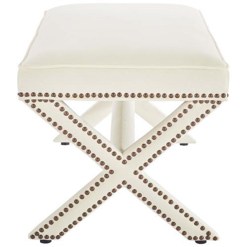 Rivet Performance Velvet Bench in Ivory