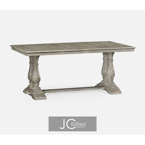 Rustic grey rectangular extending dining table