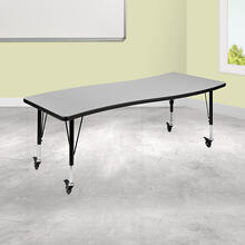 "Mobile 26""W x 60""L Rectangular Wave Collaborative Grey Thermal Laminate Activity Table - Height Adjustable Short Legs"