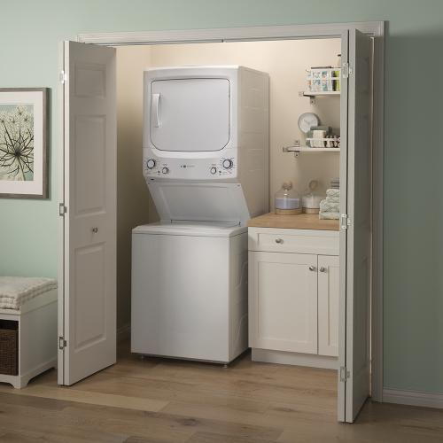 GE Unitized Spacemaker® 4.5 IEC cu. ft. Capacity Washer and 5.9 cu. ft. Capcity Electric Dryer White - GUD27EEMNWW