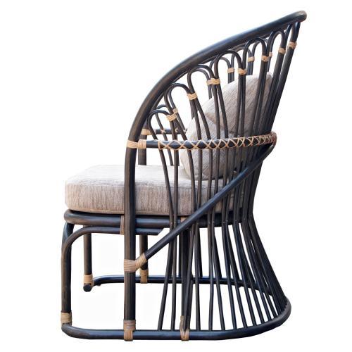 Meredith Rattan Accent Chair, Dark Brown