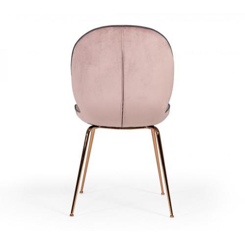 Modrest Wendy Modern Pink Velvet & Rosegold Dining Chair (Set of 2)
