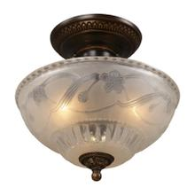 Restoration 3-Light Semi Flush in Golden Bronze with Off-white Glass