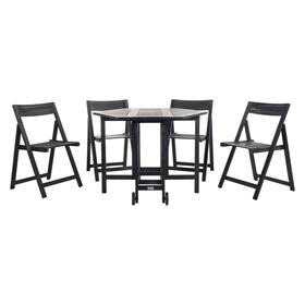 Kerman Table and 4 Chairs - Black