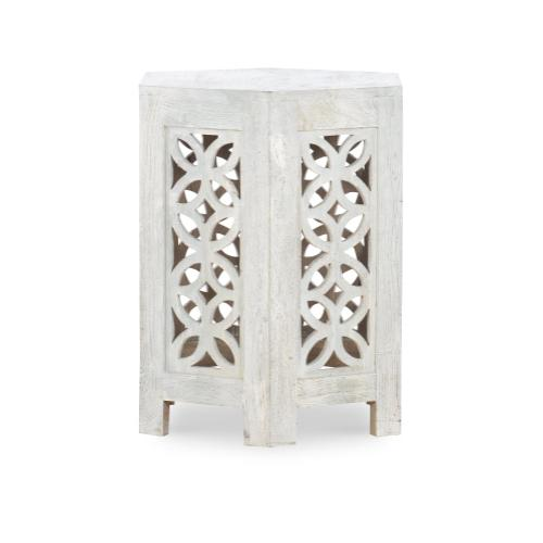 Hexagon Side Table, Sandblast White