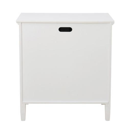 Two Door Mirror Front Chest in White & Silver