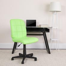 View Product - Mid-Back Green Quilted Vinyl Swivel Task Office Chair