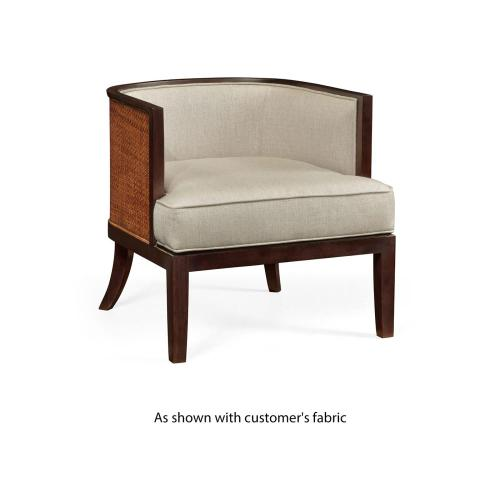 Tub chair with rattan matte, upholstered in COM