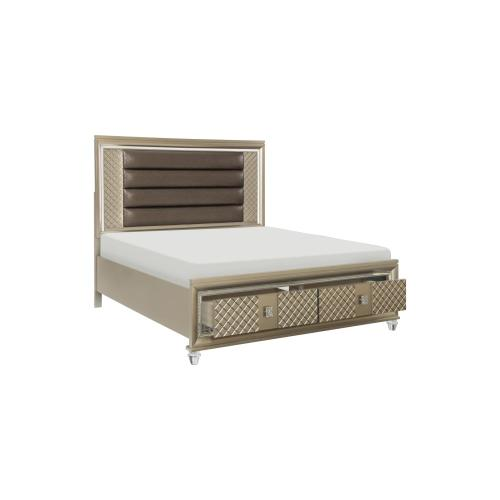 Eastern King Platform Bed with LED Lighting and Storage Footboard