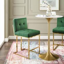 Privy Gold Stainless Steel Performance Velvet Counter Stool in Gold Emerald
