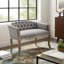 Crown Vintage French Upholstered Settee Loveseat in Light Gray