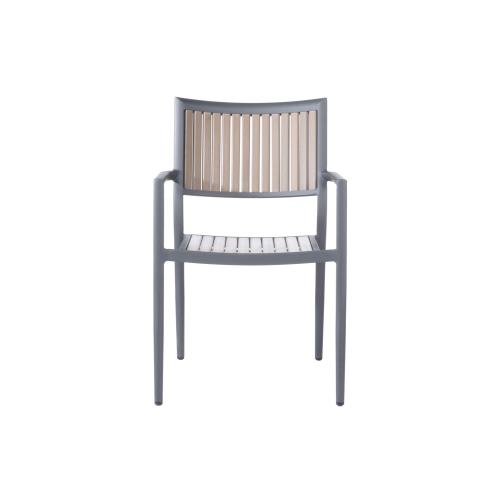 Penelope Alum/Polywood Stackable Dining Arm Chair
