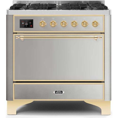Product Image - Majestic II 36 Inch Dual Fuel Natural Gas Freestanding Range in Stainless Steel with Brass Trim