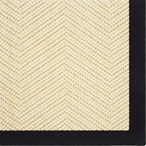 Karastan - Wool Sisal Berber Snow White 9'x12' / Leather Border