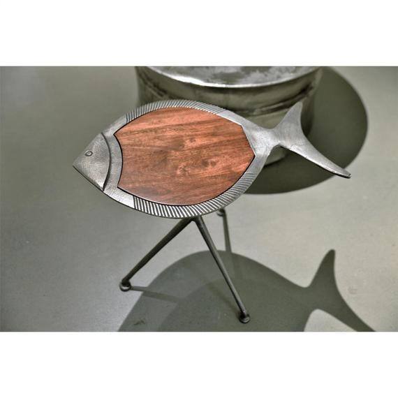 Riverside - Fish Side Table - Dark Sheesham/raw Nickel Finish