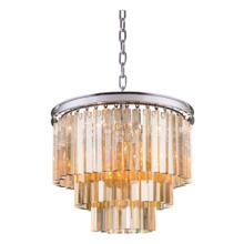 Sydney 9 light Polished nickel Chandelier Golden Teak (Smoky) Royal Cut Crystal