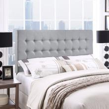 Tinble Queen Upholstered Fabric Headboard in Sky Gray