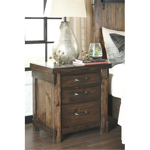 California King Panel Bed With Mirrored Dresser and 2 Nightstands