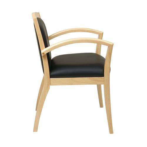 Napa Maple Guest Chair With Full Cushion Back, Black Bonded Leather