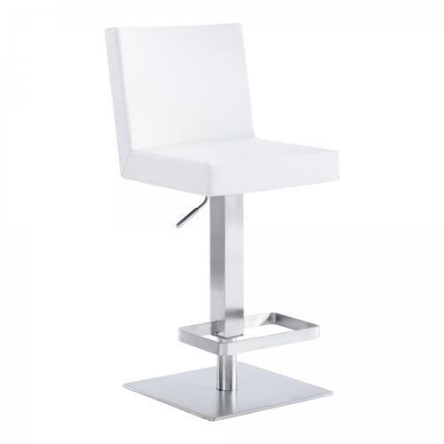 Legacy Contemporary Swivel Barstool in Brushed Stainless Steel and White Faux Leather