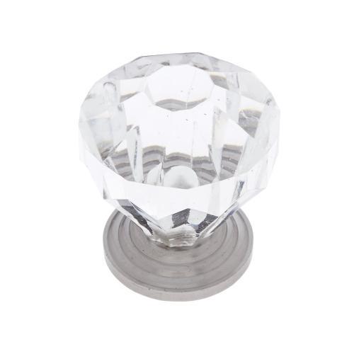 """Satin Nickel 1-1/4"""" Acrylic """"Crystal"""" Knob"""
