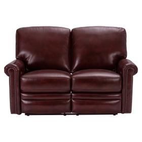 Grant Leather Power Reclining Loveseat in Merlot Red