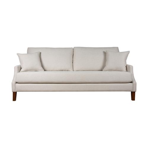 """Capris Furniture - 2 encased back pillows over 1 Convo-Lux seat cushion Skirted Grande Sofa w/ 7"""" Pyramid legs available in Walnut or Driftwood."""
