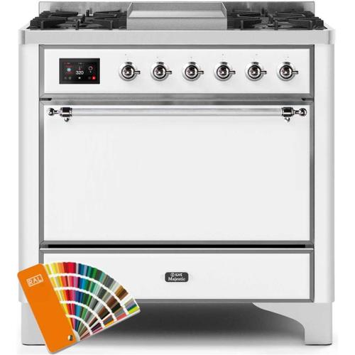 Majestic II 36 Inch Dual Fuel Natural Gas Freestanding Range in Custom RAL Color with Chrome Trim