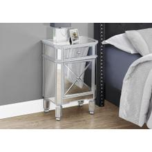 """See Details - ACCENT TABLE - 28""""H / MIRROR / SILVER WITH STORAGE"""
