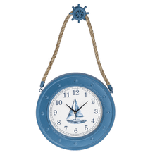 Sailboat Wall Clock with Ship Wheel Hanger