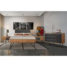 Coco Rustic 4 piece Upholstered Platform Bedroom Set in Queen with Dresser and 2 Nightstands