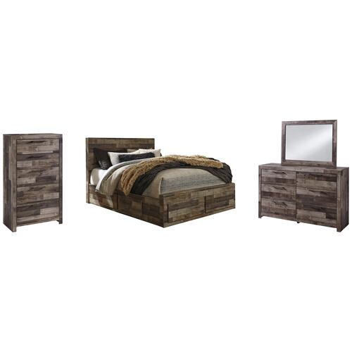 Ashley - Queen Panel Bed With 4 Storage Drawers With Mirrored Dresser and Chest
