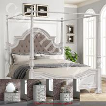 See Details - King Canopy Bed, Dresser & Mirror, Chest, Night Stand